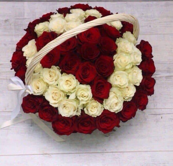 65 роз в форме сердца в корзине №223 - Фото 1