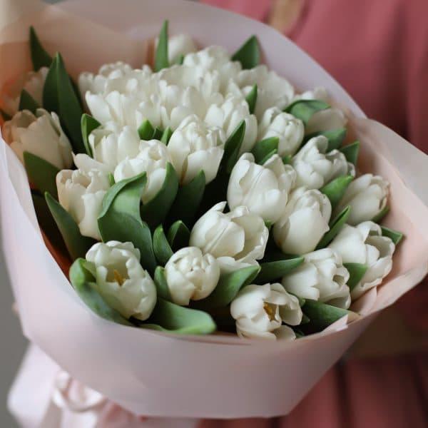 Монобукет из 25 тюльпанов в оформлении №1016 - Фото 6