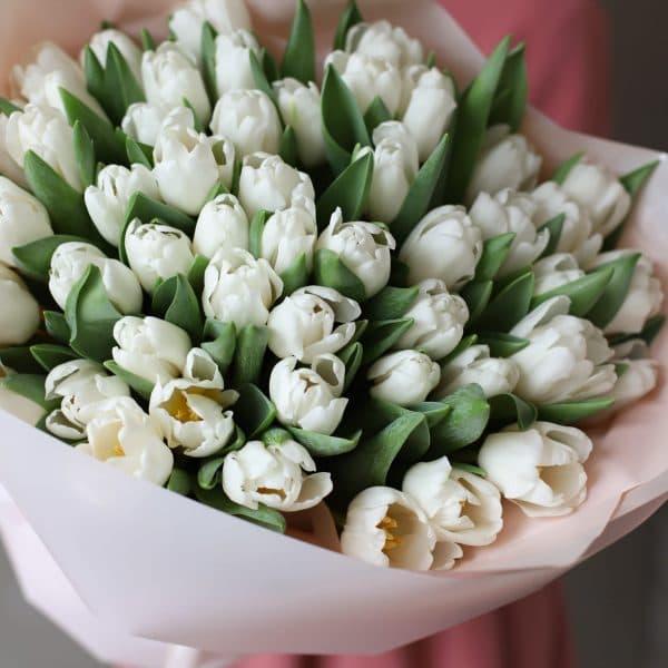 Монобукет из 51 тюльпана в оформлении №1017 - Фото 2