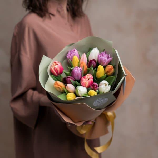Монобукет из тюльпанов №1061 - Фото 1