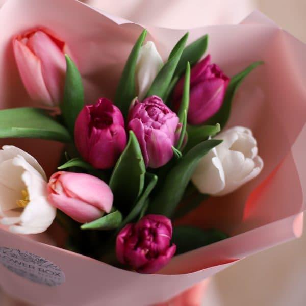 Монобукет из тюльпанов №1075 - Фото 2