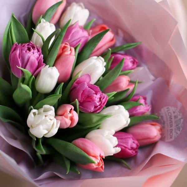 Монобукет из тюльпанов №1078 - Фото 36
