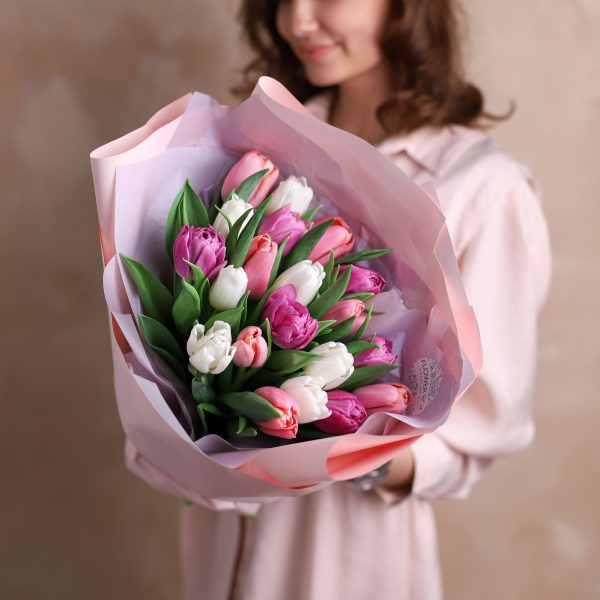 Монобукет из тюльпанов №1078 - Фото 3