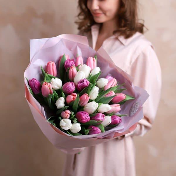 Монобукет из тюльпанов №1081 - Фото 1