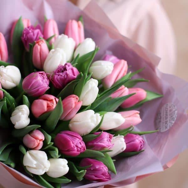 Монобукет из тюльпанов №1081 - Фото 2