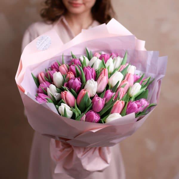 Монобукет из тюльпанов №1084 - Фото 3