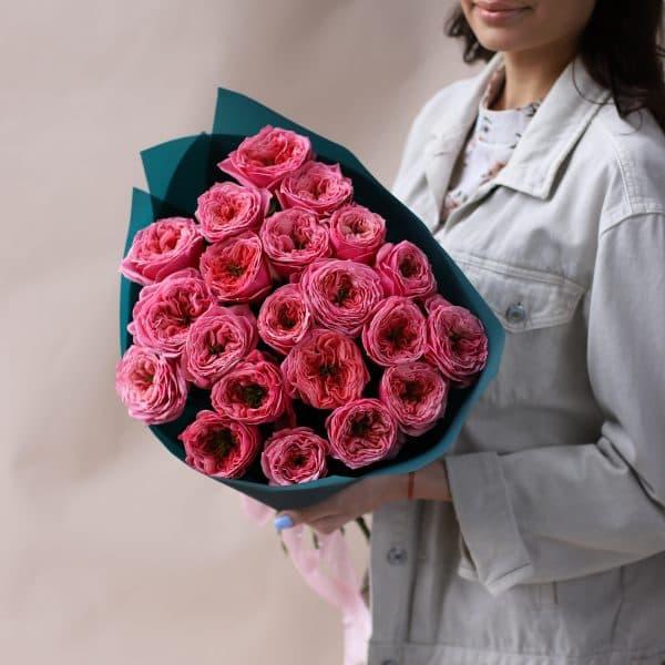 Монобукет из пионовидных премиальных Роз №842 - Фото 5