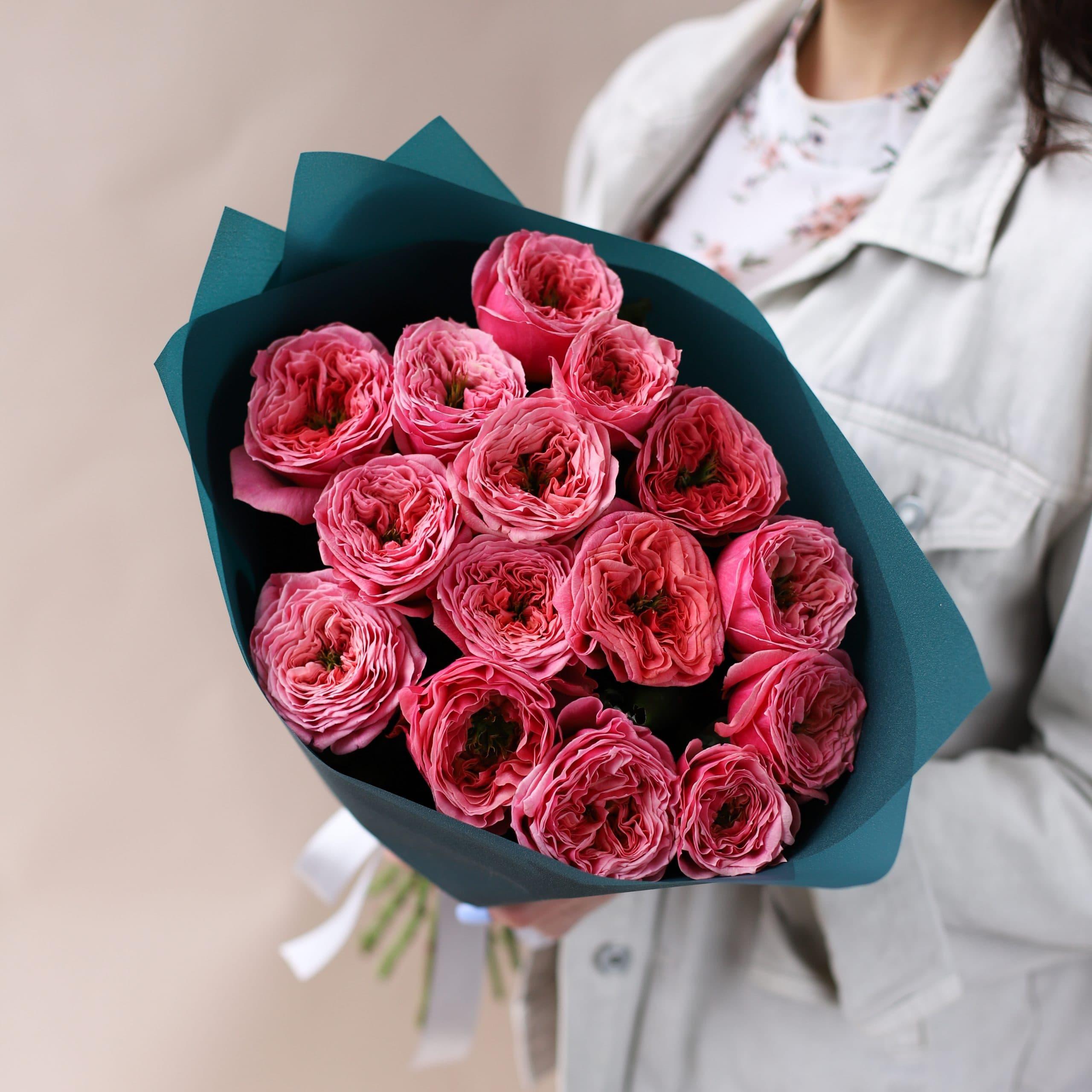 Монобукет из пионовидных премиальных Роз №843 - Фото 1