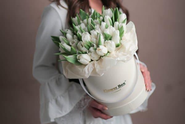 Шляпная коробка с Тюльпанами №1059 - Фото 1
