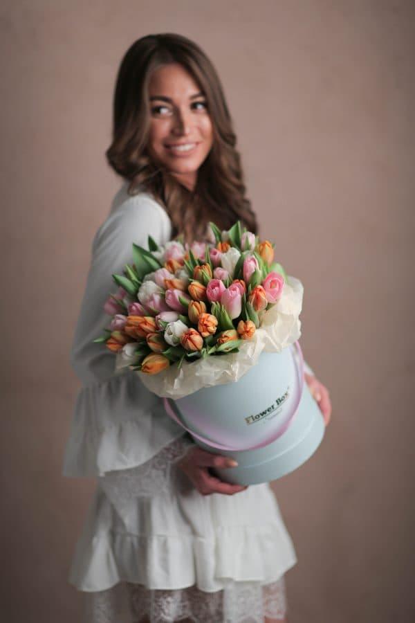 Шляпная коробка с Тюльпанами №1060 - Фото 4