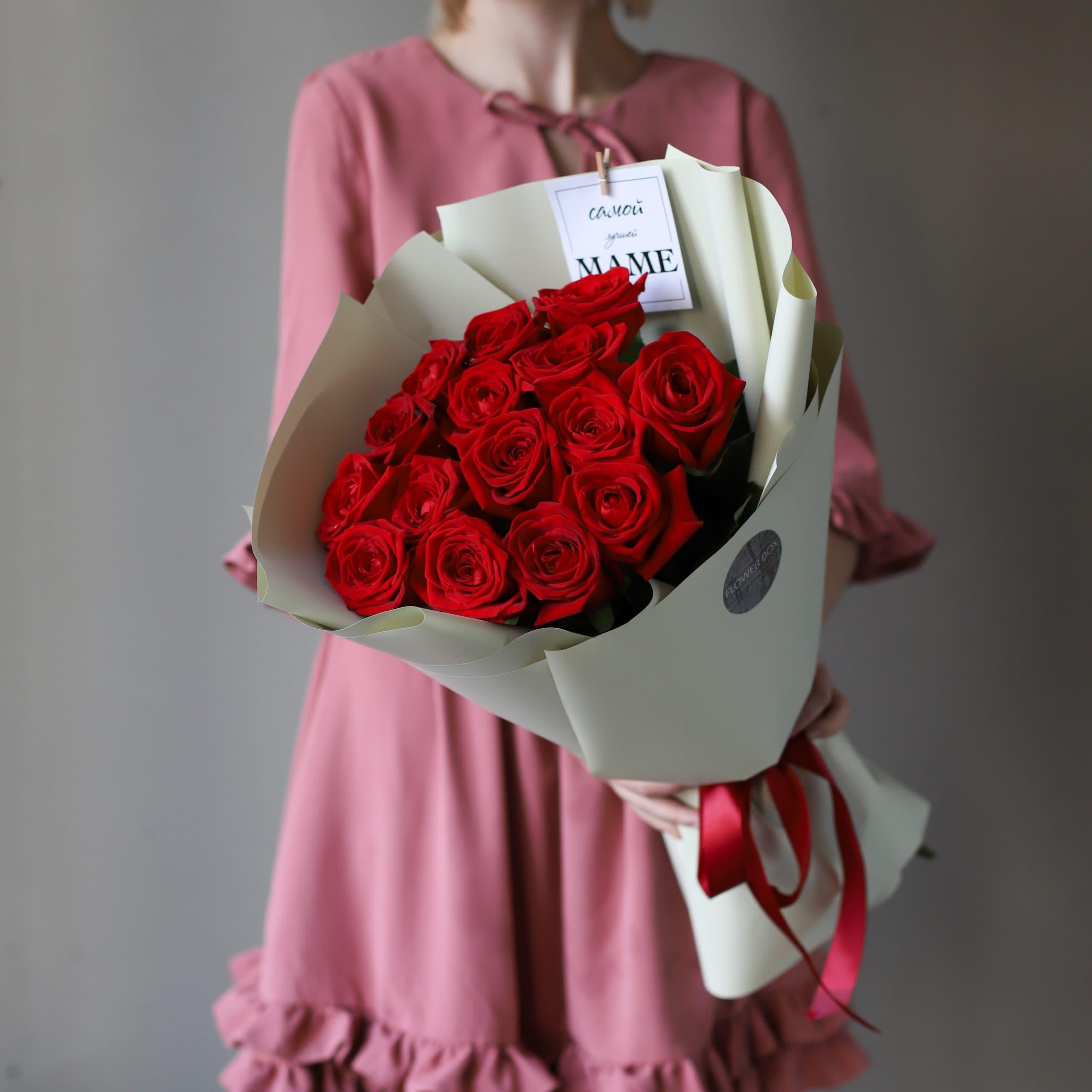 Монобукет из Российских роз 15 шт №904 - Фото 1
