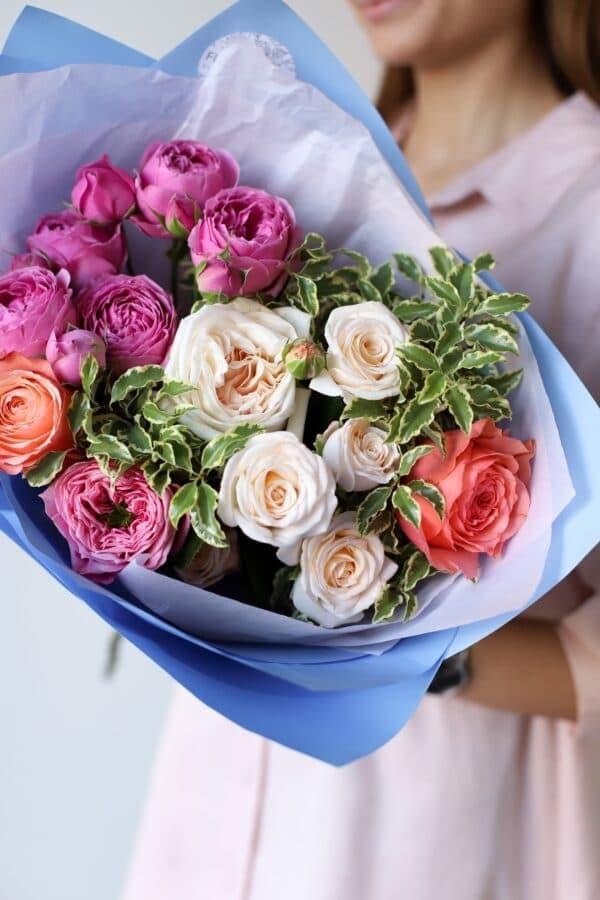 Букет из премиум пионовидных роз №1121 - Фото 2