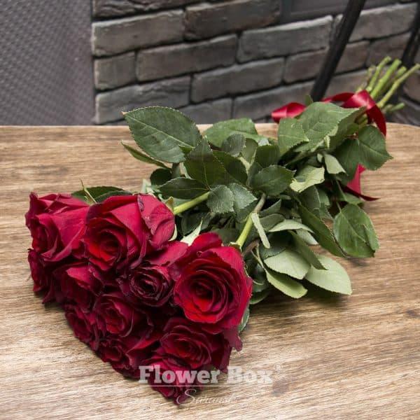 11 Голландских красных роз №243 - Фото 1