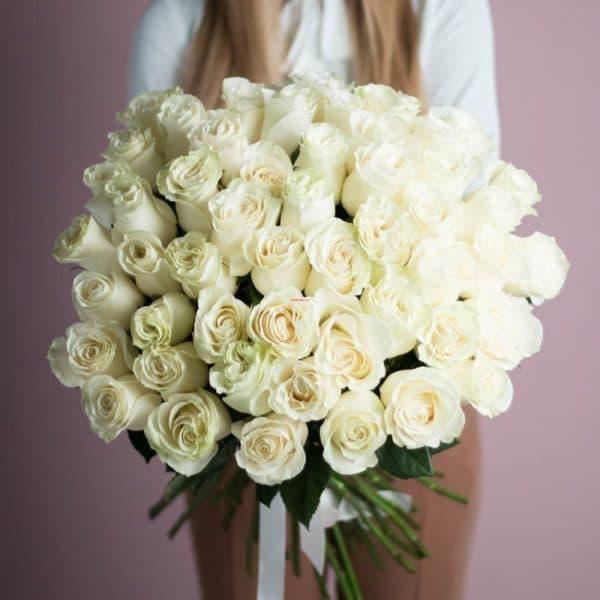 Охапка 41 роза белого цвета №524 - Фото 1
