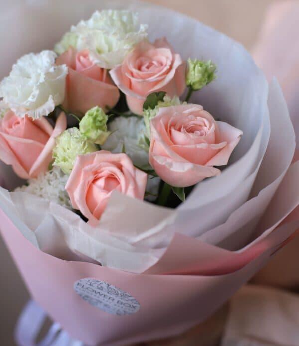 Дуобукет с Махровым лизиантусом и розами №878 - Фото 2