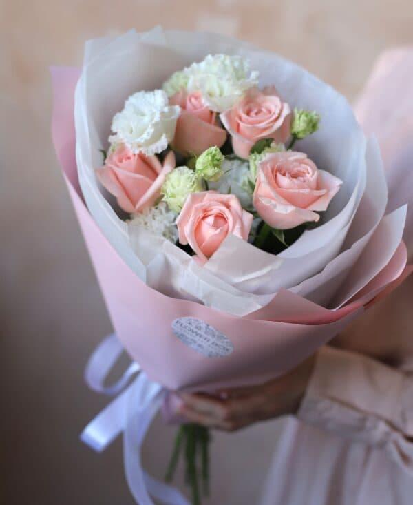 Дуобукет с Махровым лизиантусом и розами №878 - Фото 1