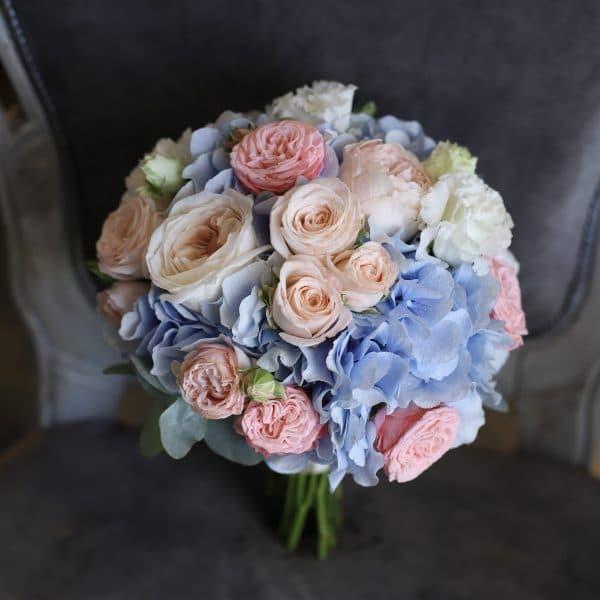 Свадебный букет  с голубой гортензией №966 - Фото 1