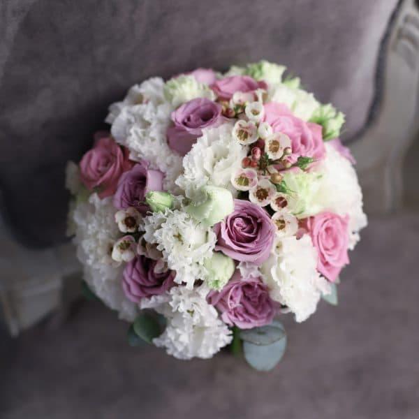 Свадебный букет с лавандовыми розами №992 - Фото 1