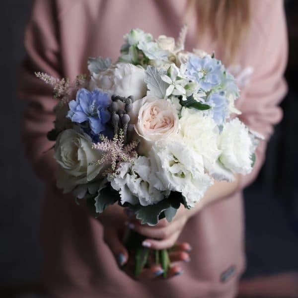 Свадебный букет с голубыми акцентами №989 - Фото 6