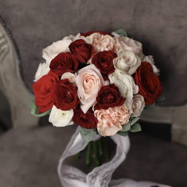 Букет невесты с бордовыми розами №962 - Фото 3