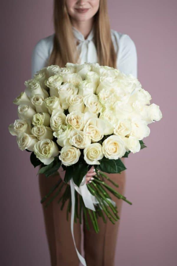 Охапка 41 роза белого цвета №524 - Фото 2