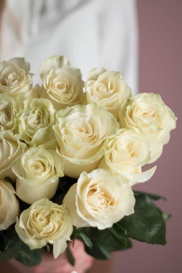 Охапка из 15 роз белого цвета №522 - Фото 3