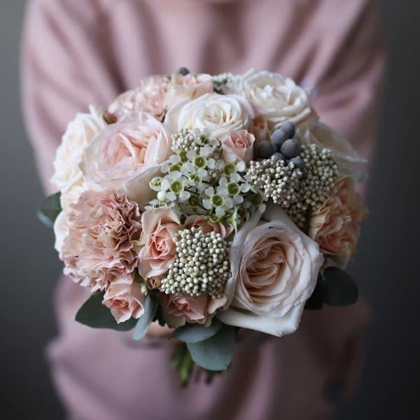 Свадебный букет в персиковой гамме  №981 - Фото 1