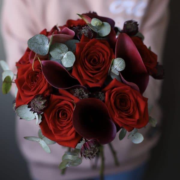 Свадебный букет в цвете Марсала №940 - Фото 2