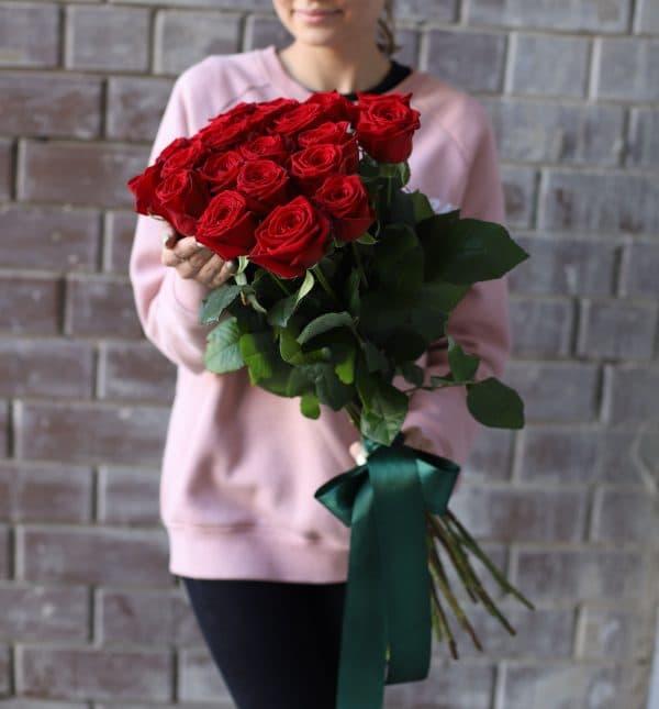 Монобукет из российских Роз 21 шт №1109 - Фото 1