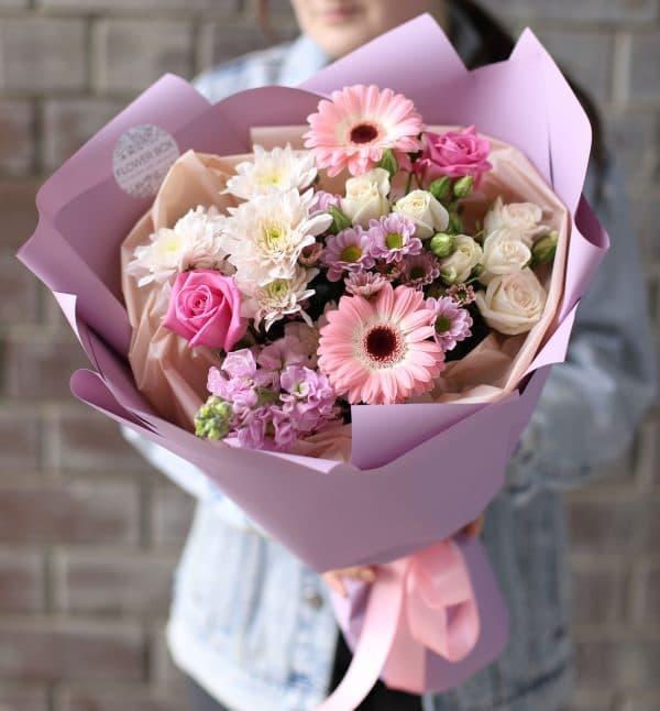 Сборный Букет с маттиолой и хризантемой №1108 - Фото 1