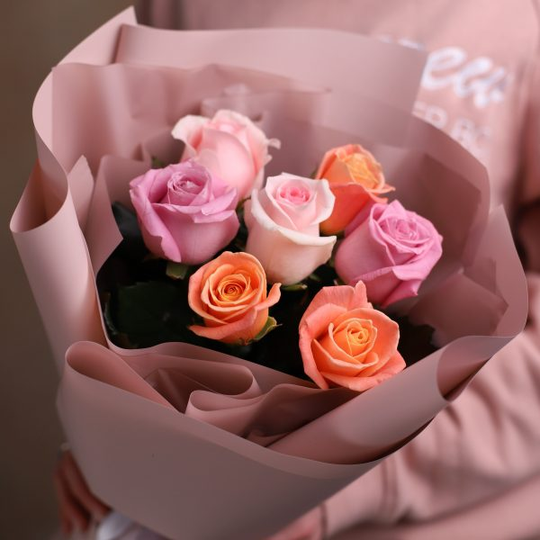Монобукет из 7 Российских роз №1013 - Фото 2