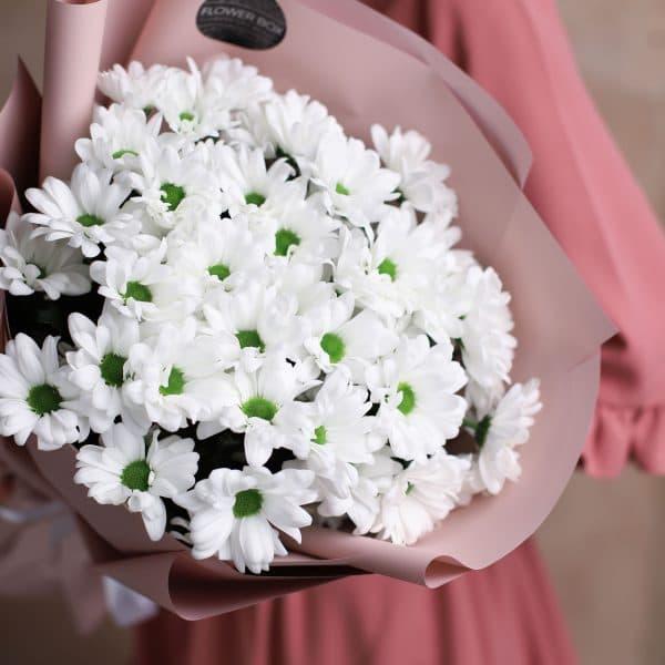 Монобукет из ромашковых хризантем 7 шт №1008 - Фото 2