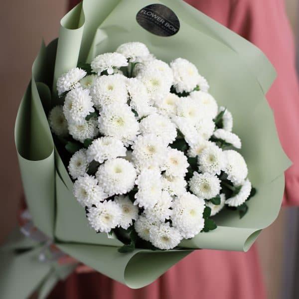 Монобукет из кустовых хризантем 7 шт №1009 - Фото 2