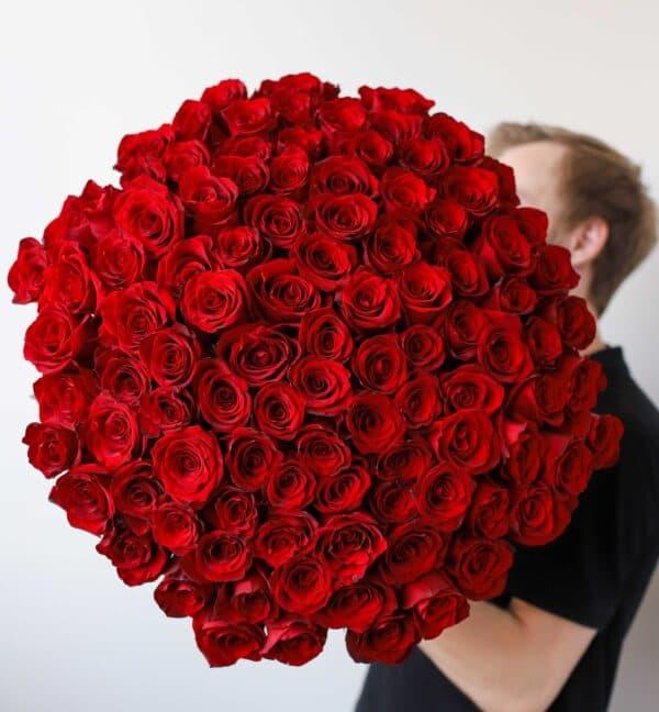 Монобукет из 101 Розы Эквадор №1143 - Фото 15