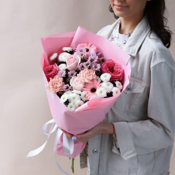 Cборный букет в розовом оформлении №827 - Фото 3