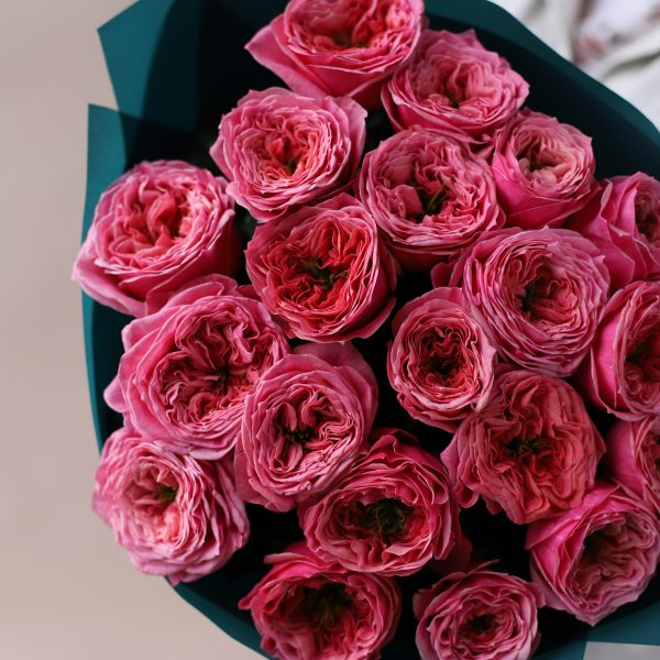 Монобукет из пионовидных премиальных Роз №842 - Фото 2