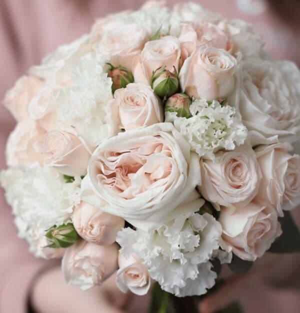 Классический свадебный букет в пудровой гамме №1125 - Фото 2
