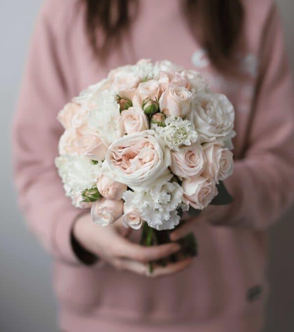 Классический свадебный букет в пудровой гамме №1125 - Фото 1