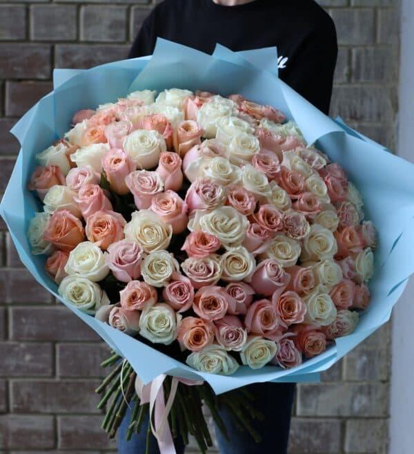 Монобукет из 101 Розы Эквадор №1140 - Фото 19