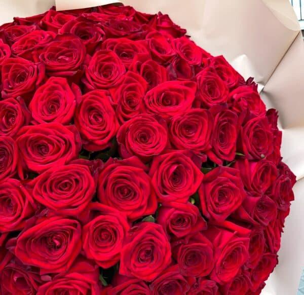 Монобукет из 101 Розы Россия №1141 - Фото 2