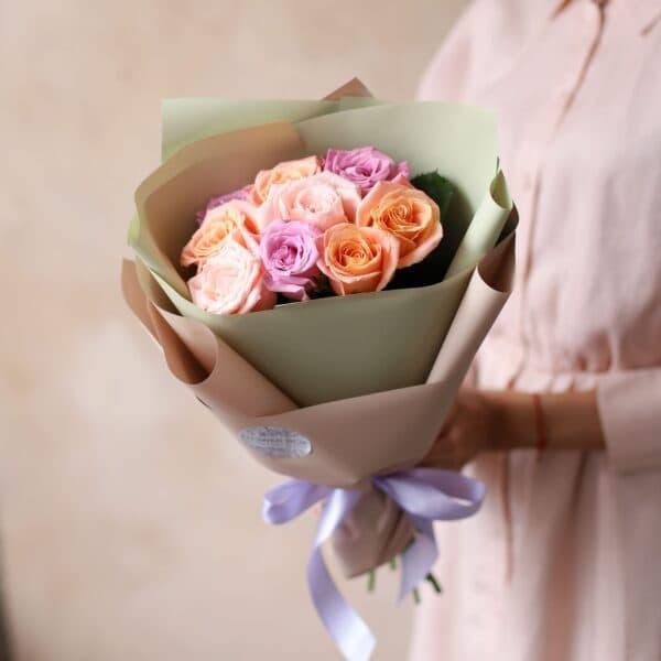 Монобукет из Российских роз (9 шт)  №1166 - Фото 1