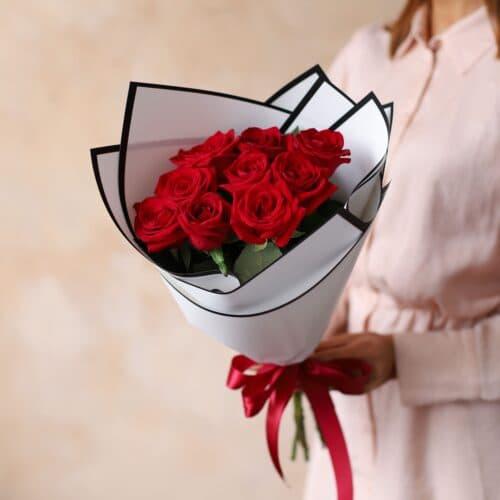 Монобукет из Российских роз (9 шт)  №1169 - Фото 5