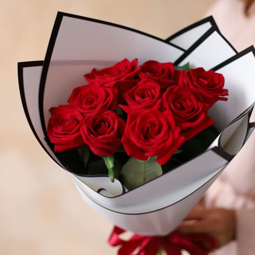 Монобукет из Российских роз (9 шт)  №1169 - Фото 6