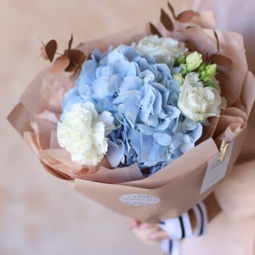 Сборный букет с голубой  гортензией №1152 - Фото 8