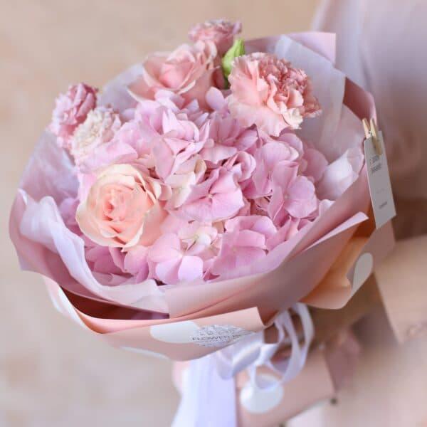 Сборный букет с розовой  гортензией №1153 - Фото 2