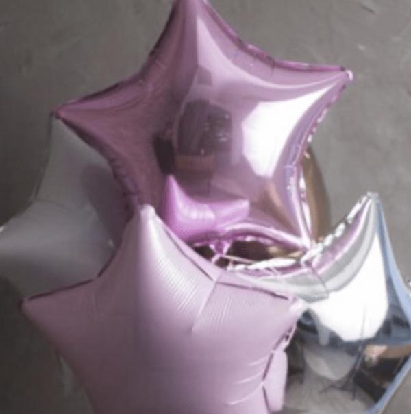 Набор из 5 фольгированных шаров в виде звезды №156 - Фото 2